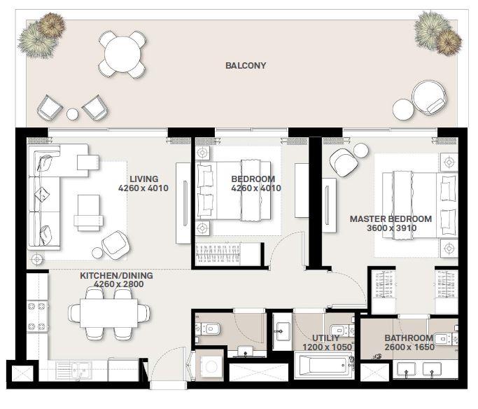 emaar executive residences 2 apartment 2bhk 1376sqft271