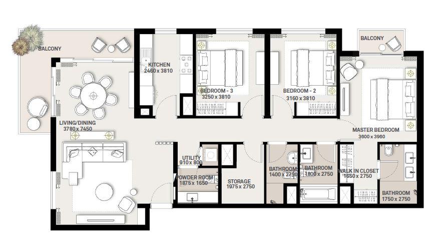 emaar executive residences 2 apartment 3bhk 1587sqft321
