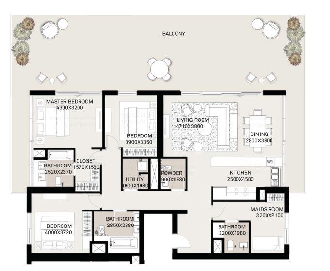 emaar executive residences apartment 3bhk 2875sqft291
