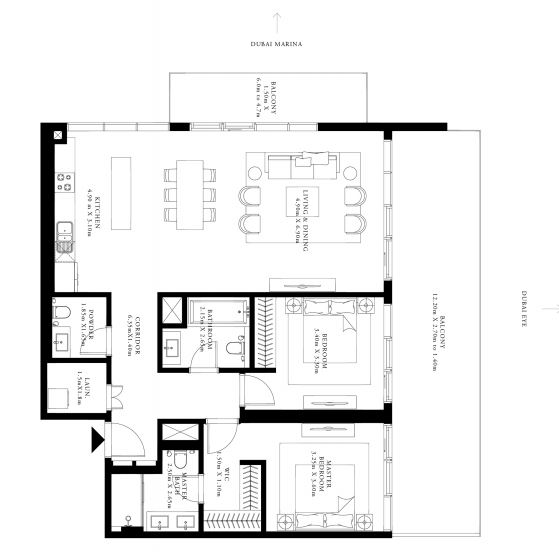emaar grand bleu tower apartment 2 bhk 1751sqft 20205214165238
