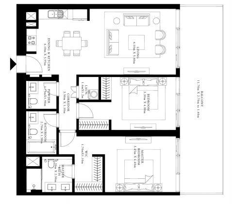 emaar grand bleu tower apartment 3 bhk 1415sqft 20205714165733