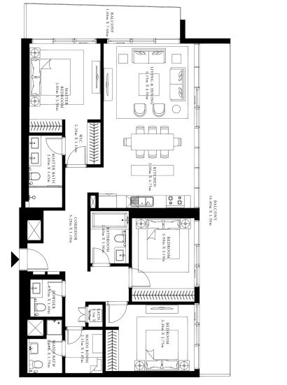 emaar grand bleu tower apartment 3 bhk 1947sqft 20205814165834