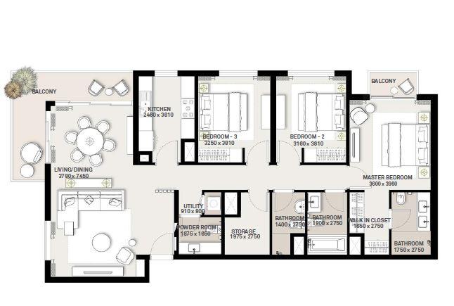 emaar green square apartment 3bhk 1583sqft381