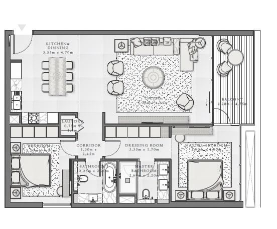emaar mina rashid sirdhana apartment 2bhk 1243sqft211