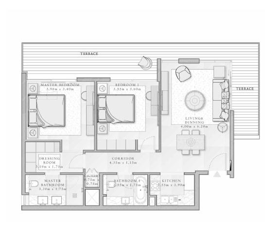 emaar mina rashid sirdhana apartment 2bhk 1258sqft211