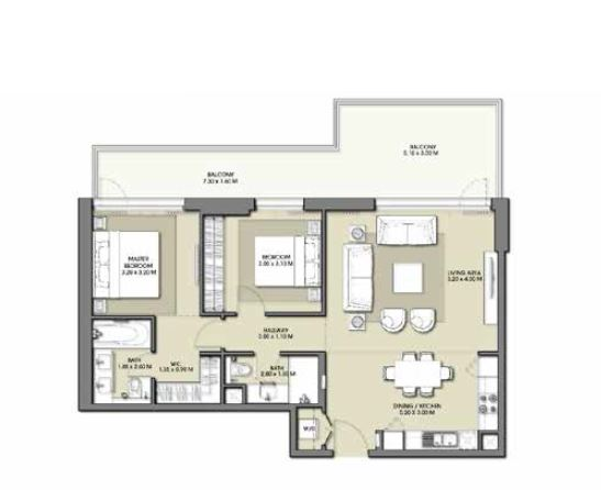 emaar park point apartment 2bhk 1224sqft431