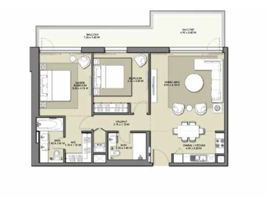 emaar park point apartment 2bhk 1317sqft451