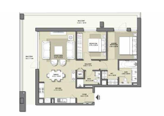 emaar park point apartment 2bhk 1318sqft461