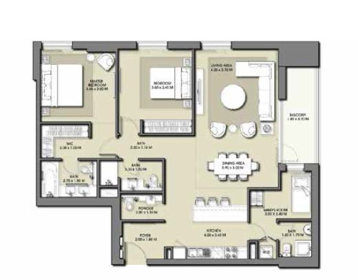 emaar park point apartment 2bhk 1365sqft501