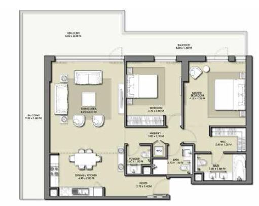 emaar park point apartment 2bhk 1768sqft551