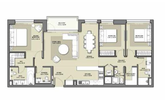 emaar park point apartment 3bhk 1363sqft601
