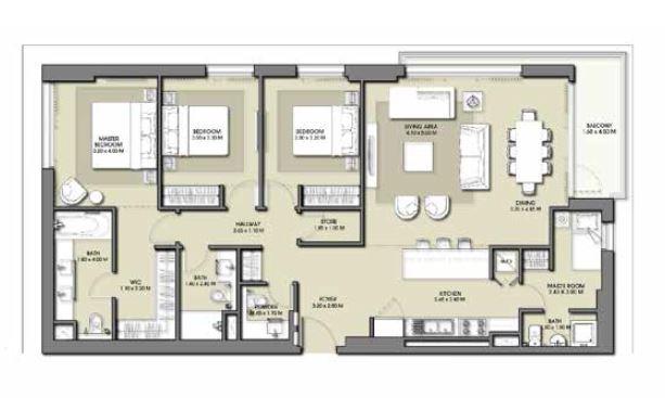 emaar park point apartment 3bhk 1614sqft731