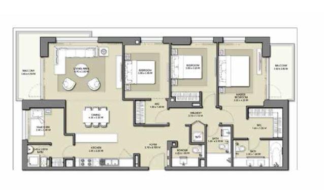 emaar park point apartment 3bhk 1623sqft771