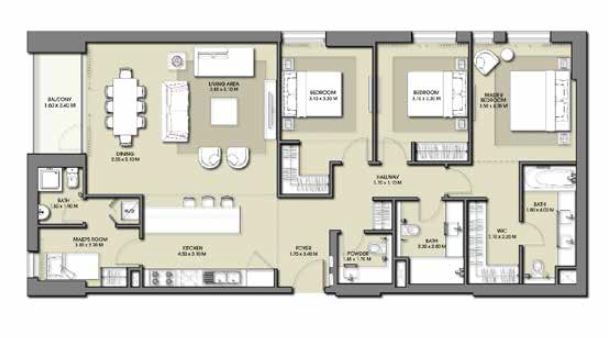 emaar park point apartment 3bhk 1649sqft791