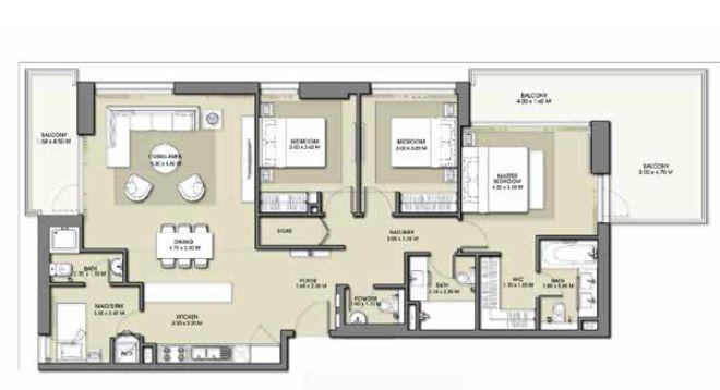 emaar park point apartment 3bhk 1673sqft801