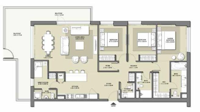 emaar park point apartment 3bhk 1925sqft841