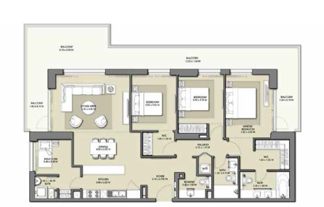 emaar park point apartment 3bhk 2030sqft861