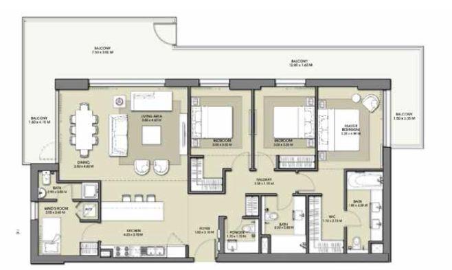 emaar park point apartment 3bhk 2095sqft871
