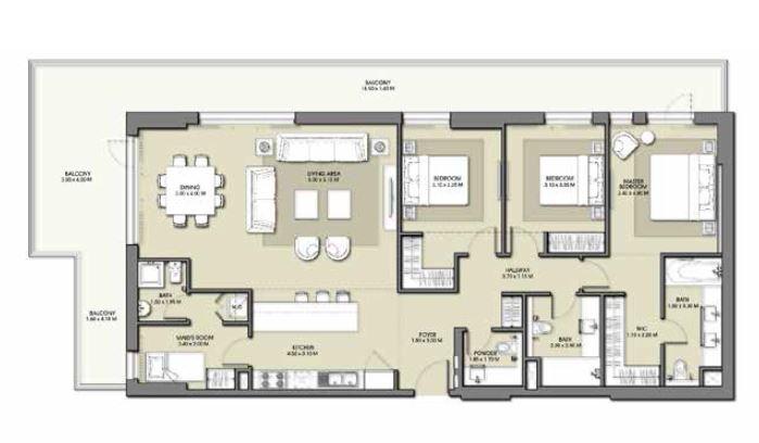 emaar park point apartment 3bhk 2259sqft881
