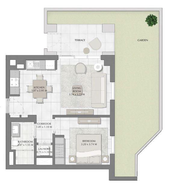 emaar summer apartment 1bhk 1048sqft421