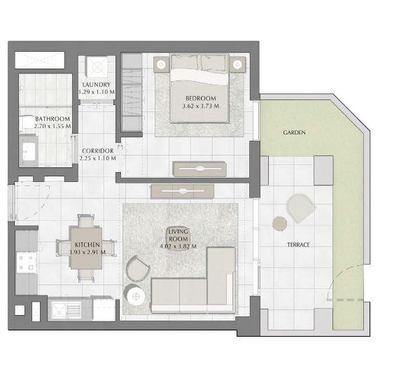 emaar summer apartment 1bhk 826sqft291