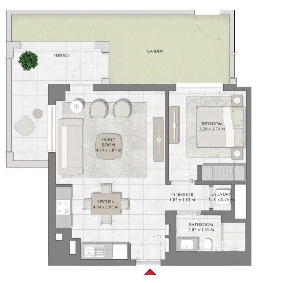 emaar summer apartment 1bhk 976sqft411
