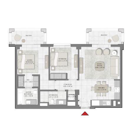 emaar summer apartment 2bhk 1033sqft491