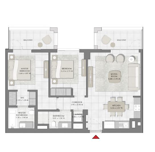 emaar summer apartment 2bhk 1068sqft511