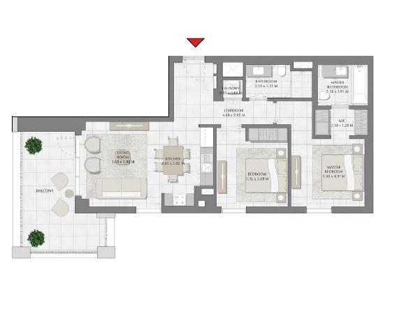emaar summer apartment 2bhk 1092sqft521