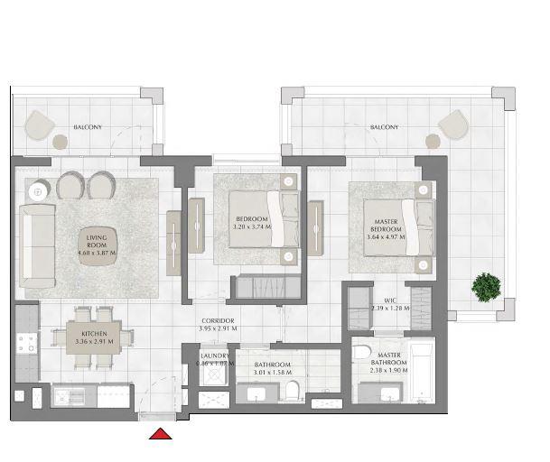 emaar summer apartment 2bhk 1199sqft571