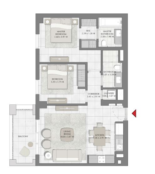 emaar summer apartment 2bhk 987sqft471