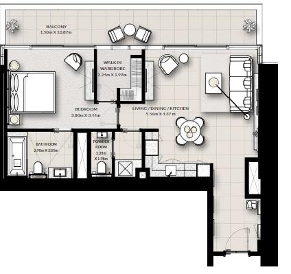 emaar vida creek beach apartment 1bhk 1006sqft391