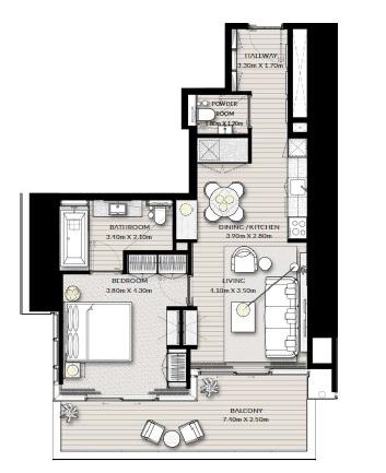 emaar vida creek beach apartment 1bhk 848sqft391