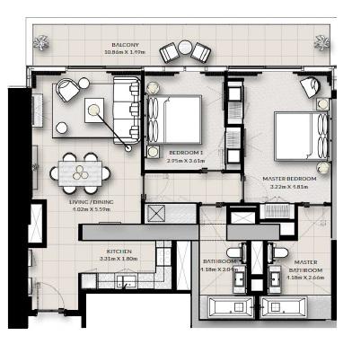 emaar vida residences apartment 2bhk 1262sqft391