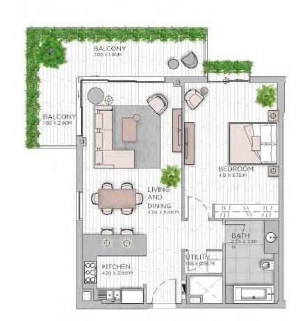 meraas central park apartment 1bhk 1054sqft801
