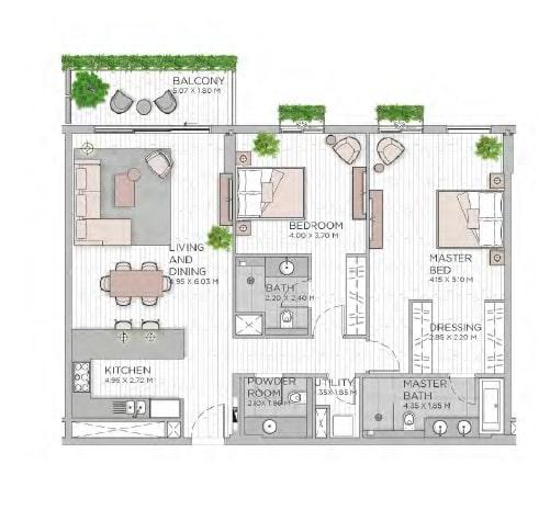 meraas central park apartment 2bhk 1463sqft801