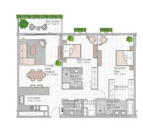 meraas central park apartment 2bhk 1464sqft801