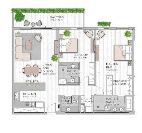 meraas central park apartment 2bhk 1513sqft801