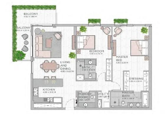 meraas central park apartment 2bhk 1538sqft801