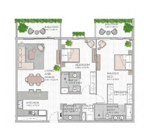 meraas central park apartment 2bhk 1545sqft801