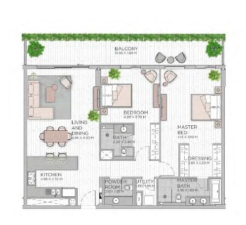 meraas central park apartment 2bhk 1621sqft801