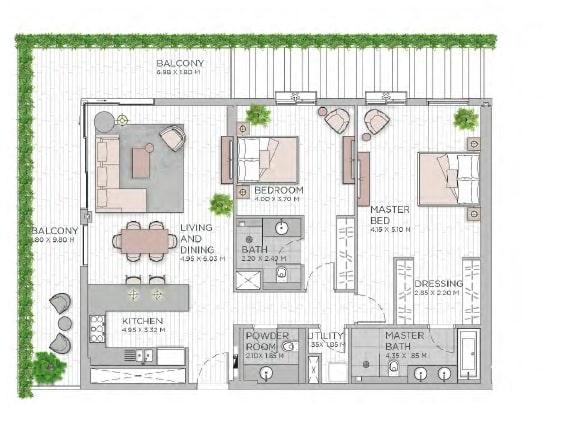 meraas central park apartment 2bhk 1689sqft801