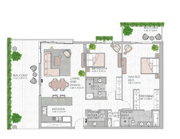 meraas central park apartment 2bhk 1829sqft801