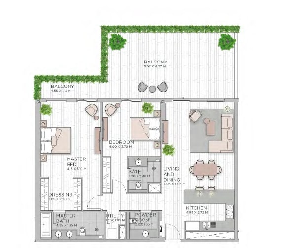 meraas central park apartment 2bhk 1862sqft801