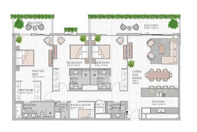 meraas central park apartment 3bhk 2138sqft801
