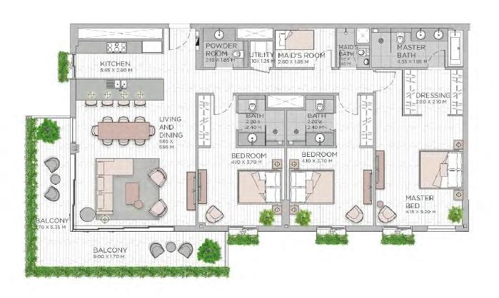 meraas central park apartment 3bhk 2144sqft801