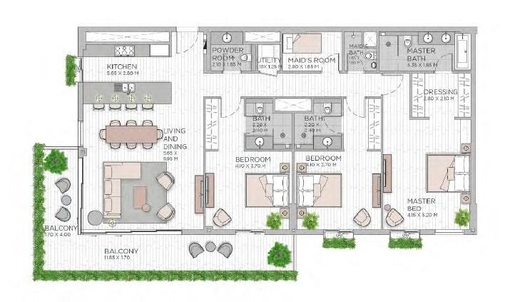 meraas central park apartment 3bhk 2170sqft801