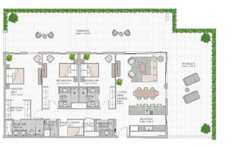 meraas central park apartment 3bhk 3455sqft801