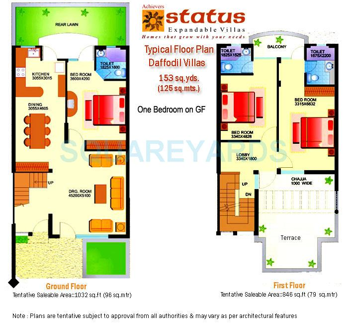 achievers builders status expandable villa villa 3bhk 1878sqft 1