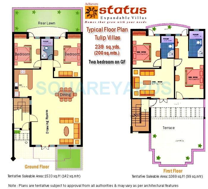 achievers builders status expandable villa villa 4bhk 2602sqft 1